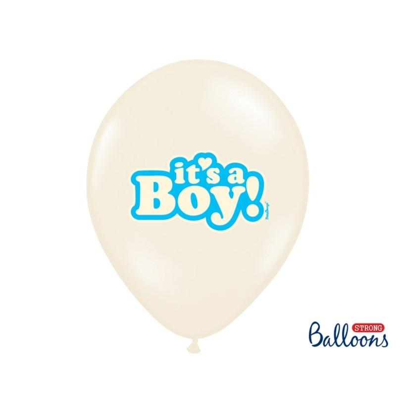 "Set de 6 globos de látex ""IT'S A BOY"" azul"