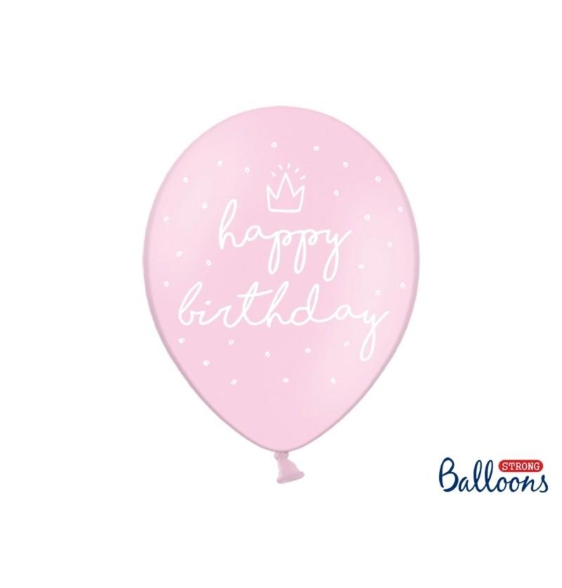 """Set de 50 globos extra resistentes '' Happy Birthday"""" rosa"""