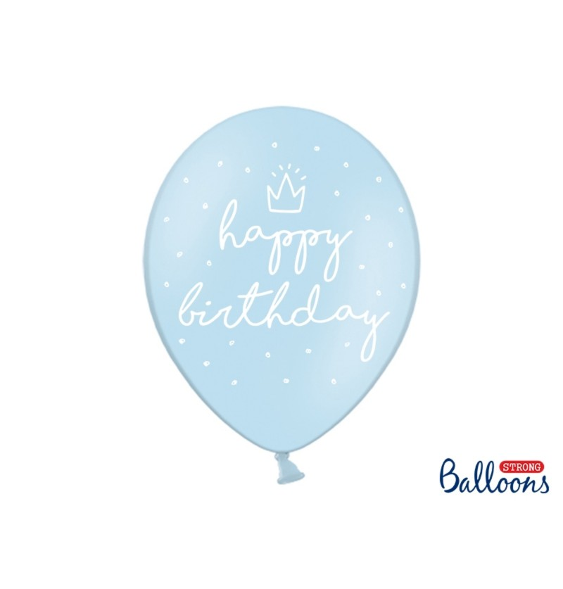 """Set de 50 globos extra resistentes '' Happy Birthday"""" azul"""