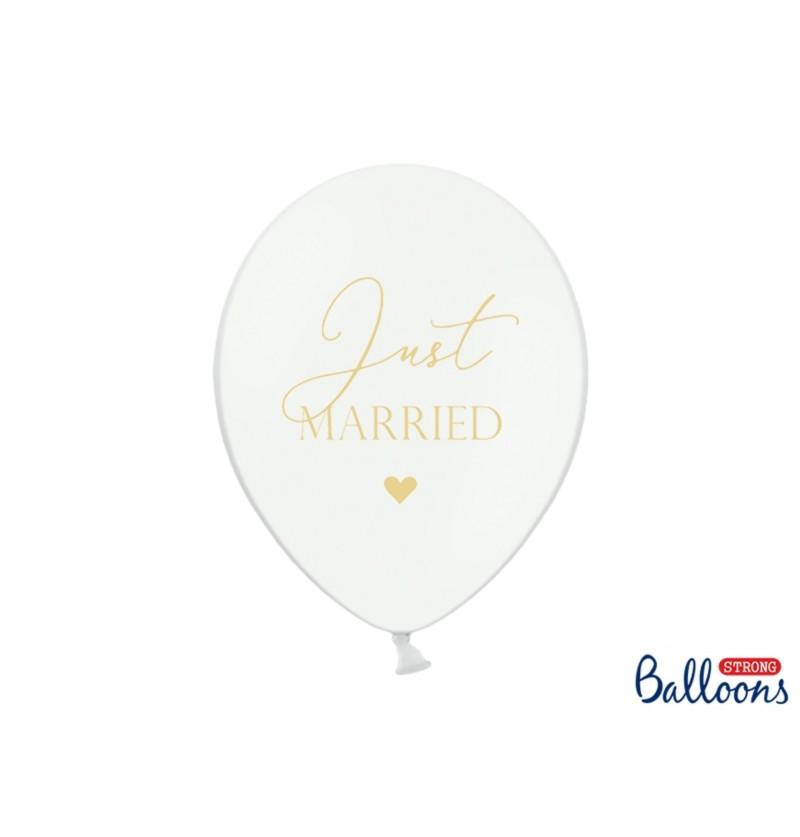 """Set de 6 globos de látex """"JUST MARRIED"""" blanco"""