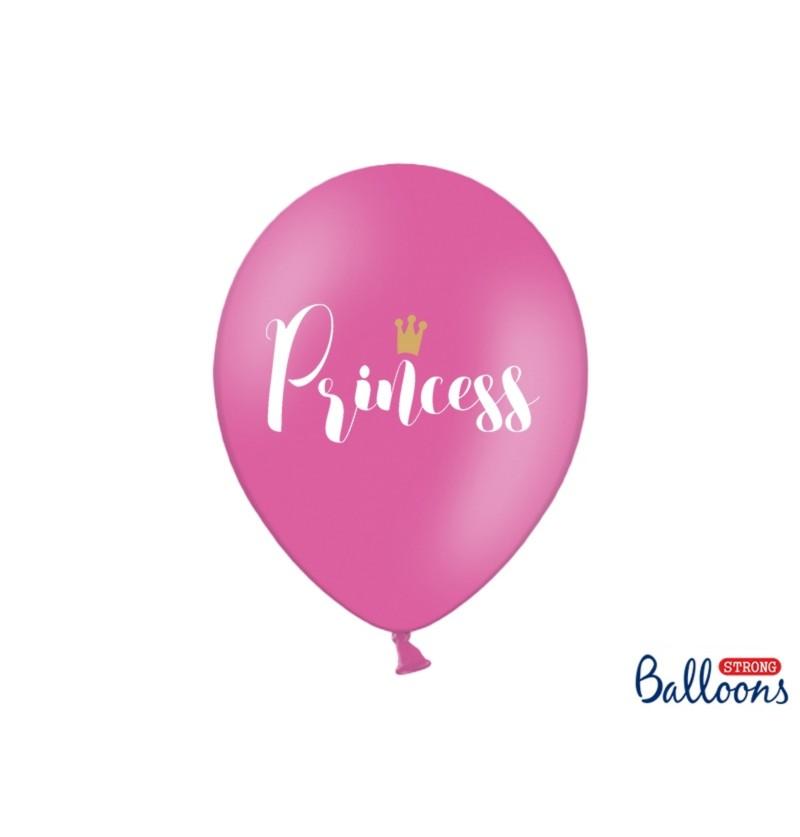 """Set de 6 globos de látex """"PRINCESS"""" rosa"""