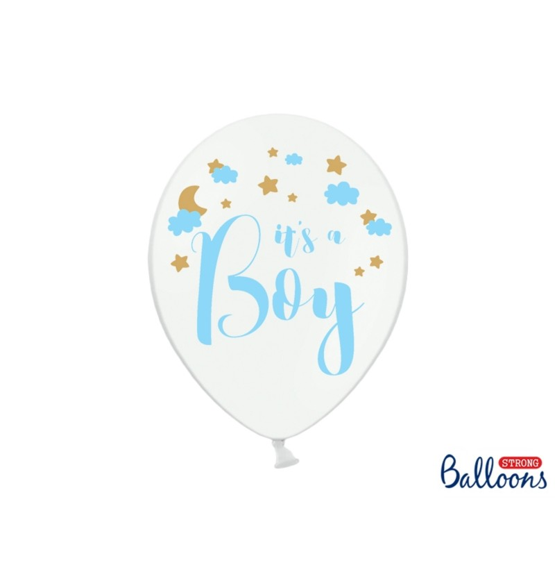 "Set de 50 globos de látex ""IT'S A BOY"" blanco"