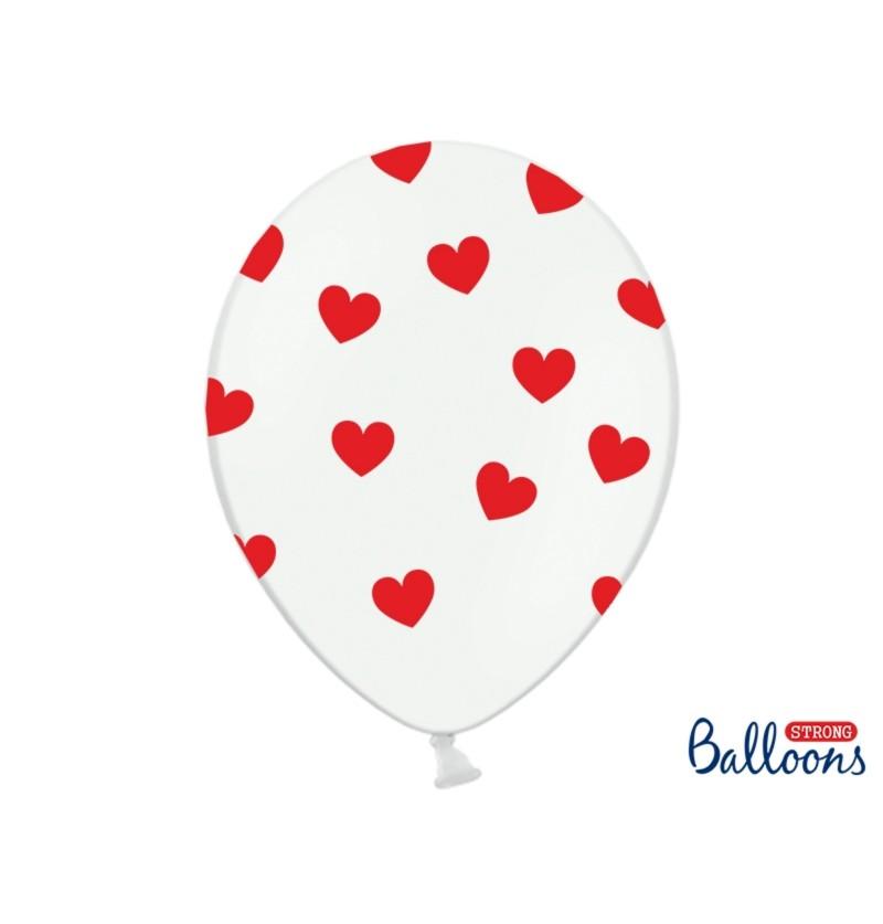 Set de 6 globos de látex con corazones rojos