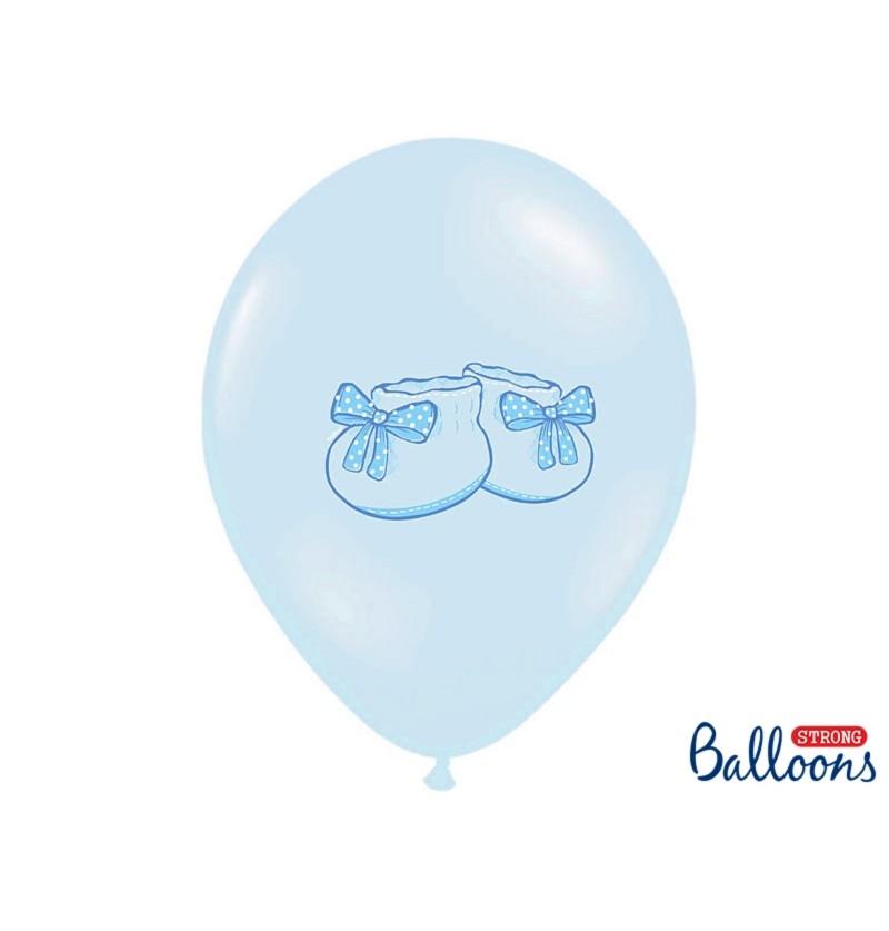 Set de 50 globos de látex con patucos azul pasteles