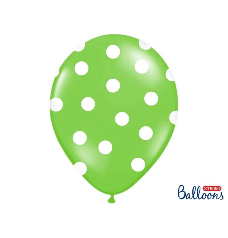 Set de 6 globos verde lima 30 cm con topos blancos