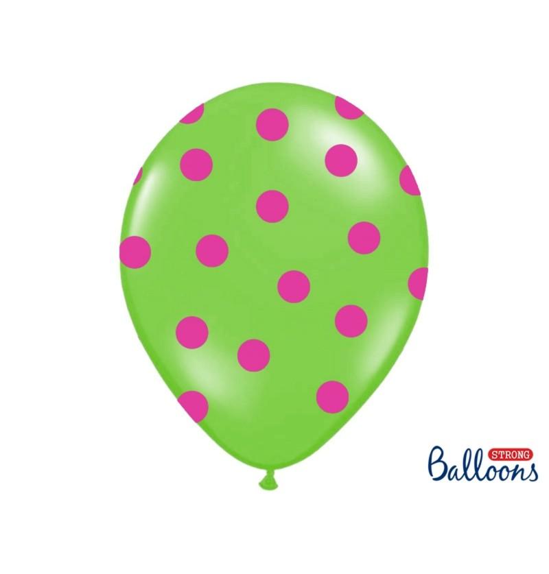 Set de 50 globos con topos verde lima