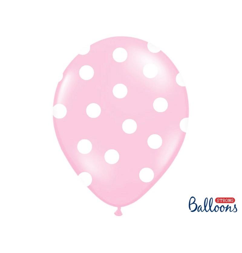Set de 6 globos rosas 30 cm con topos blancos