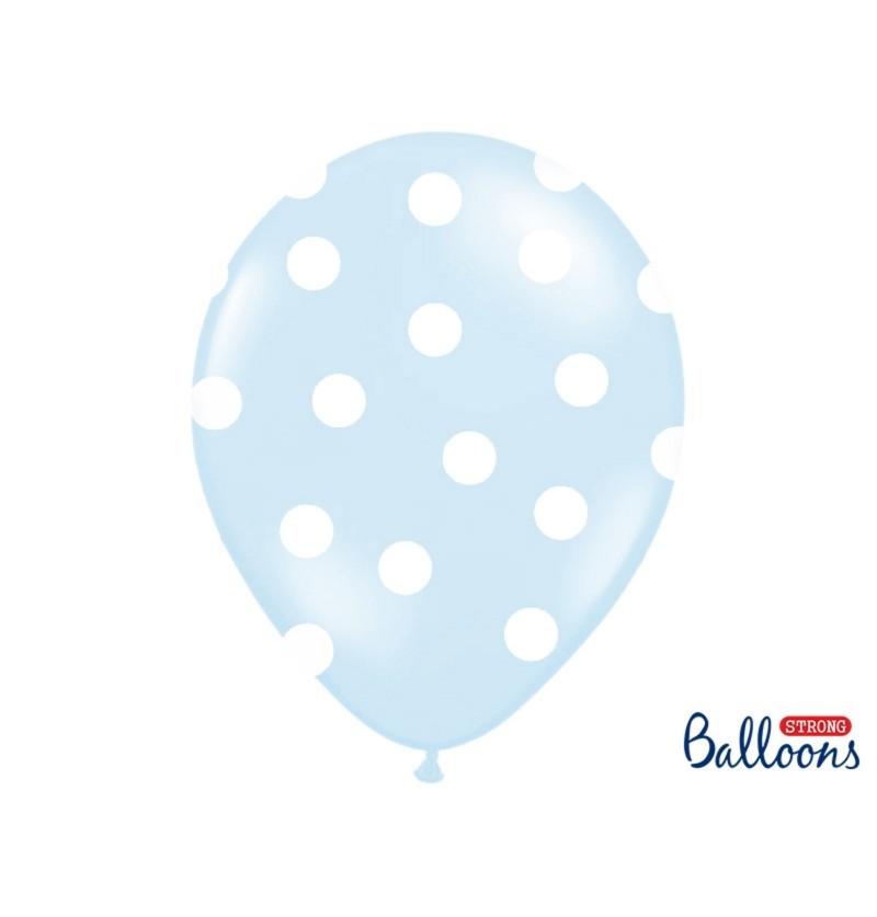 Set de 6 globos azul pasteles con topos blancos