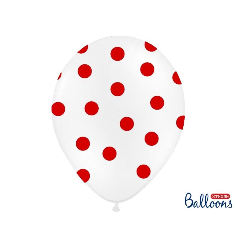 Set de 6 globos blancos con topos