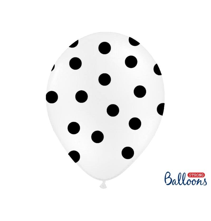 Set de 50 globos blancos con topos rojos