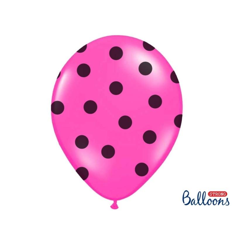 Set de 6 globos con topos rosa