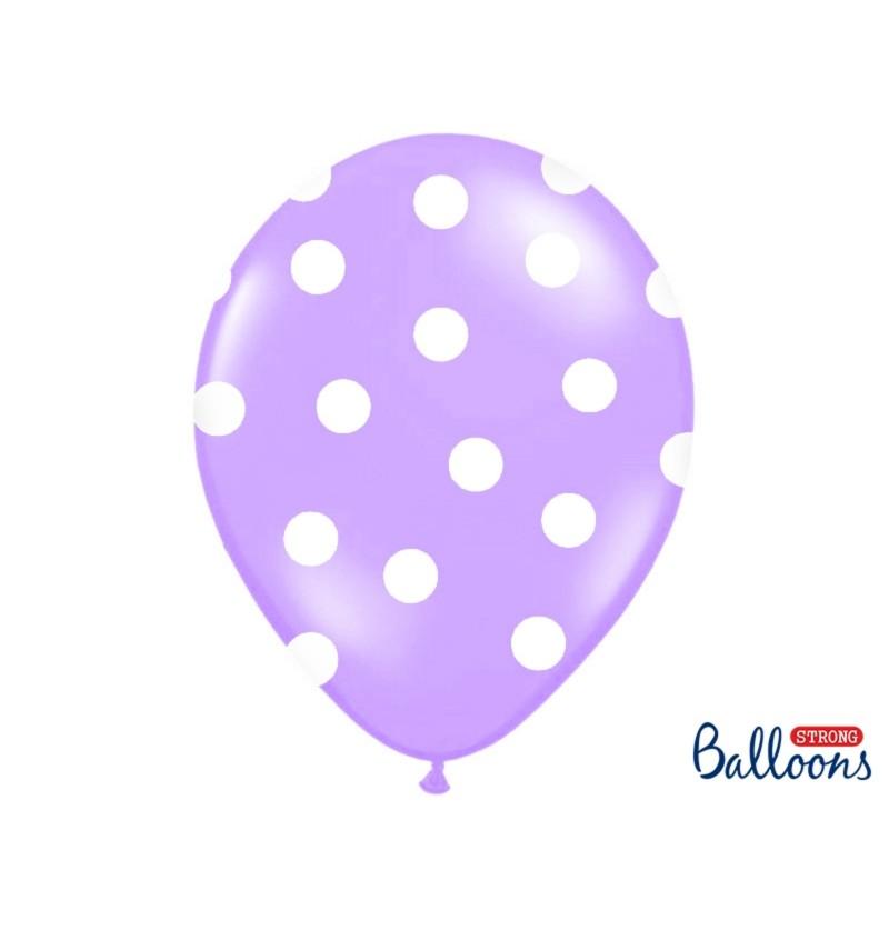 Set de 6 globos con topos lavanda