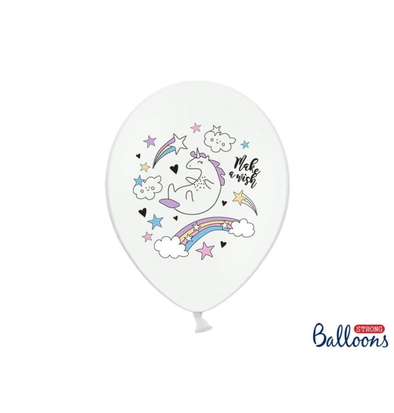 Set de 50 globos de látex con unicornio blanco