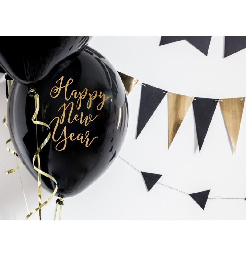 """Set de 50 globos de látex """"HAPPY NEW YEAR"""" negro y amarillo"""