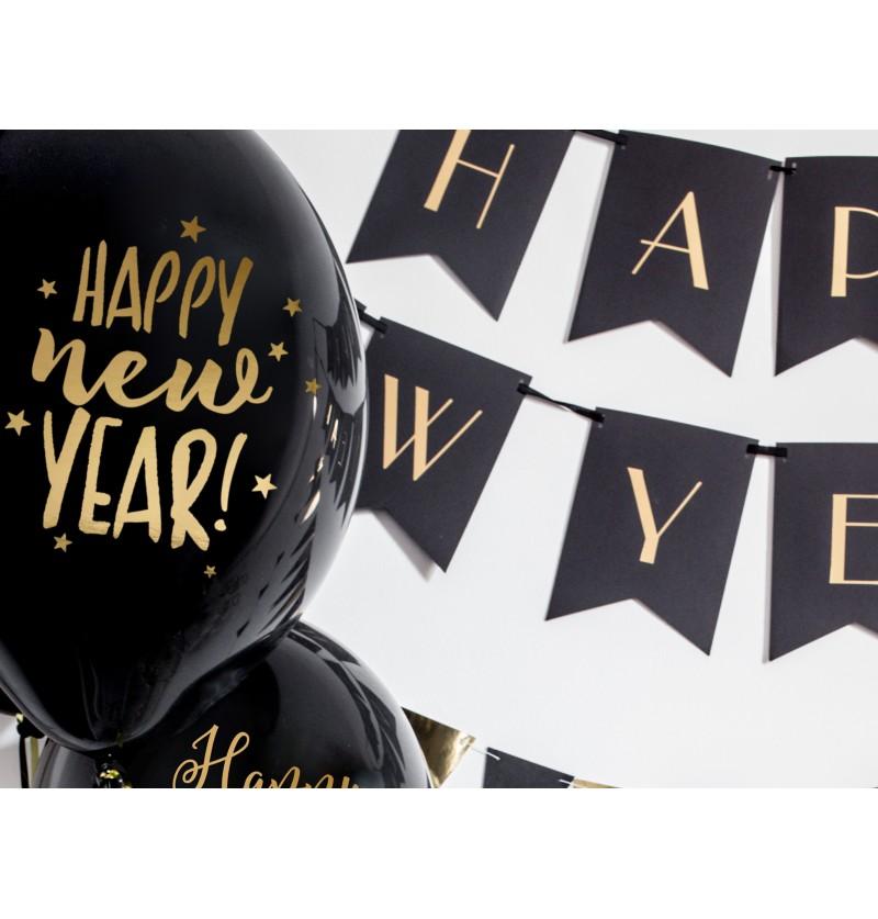 """Set de 50 globos de látex """"HAPPY NEW YEAR"""" negro y naranja"""