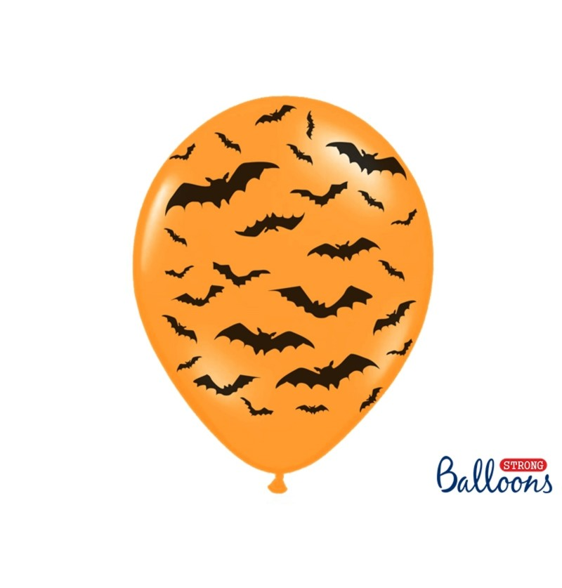 Set de 6 globos de látex con murciélagos naranja
