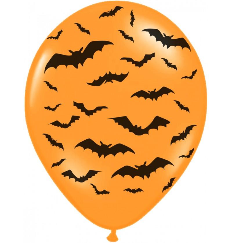 Set de 50 globos de látex con murciélagos naranja
