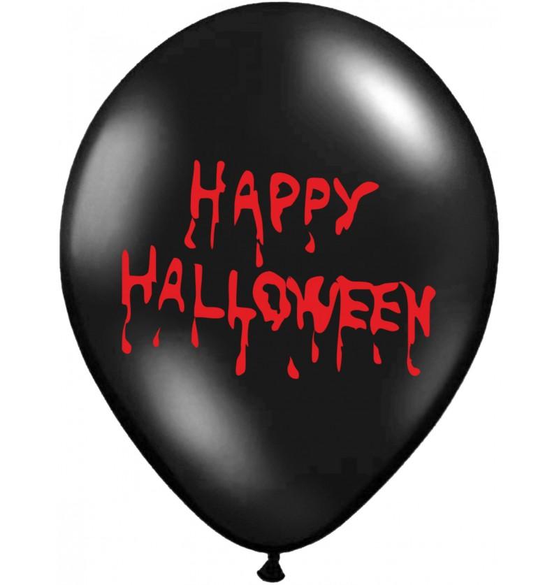 """Set de 50 globos de látex """"HAPPY HALLOWEEN"""" negro pastel"""