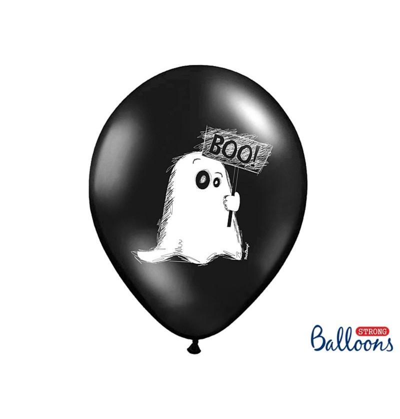 Set de 6 globos de látex con fantasmas negro