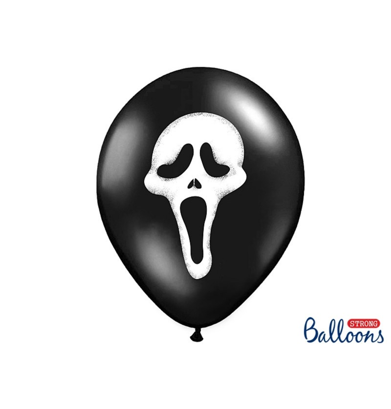 Set de 6 globos de látex silueta maligna negro