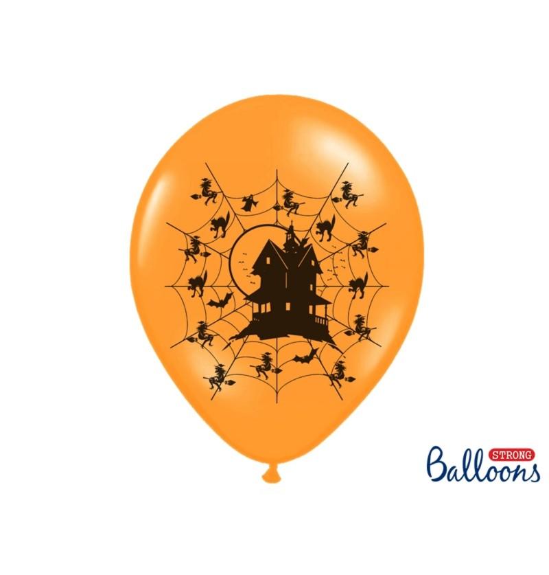 Set de 50 globos de látex casa encantada naranja pastel