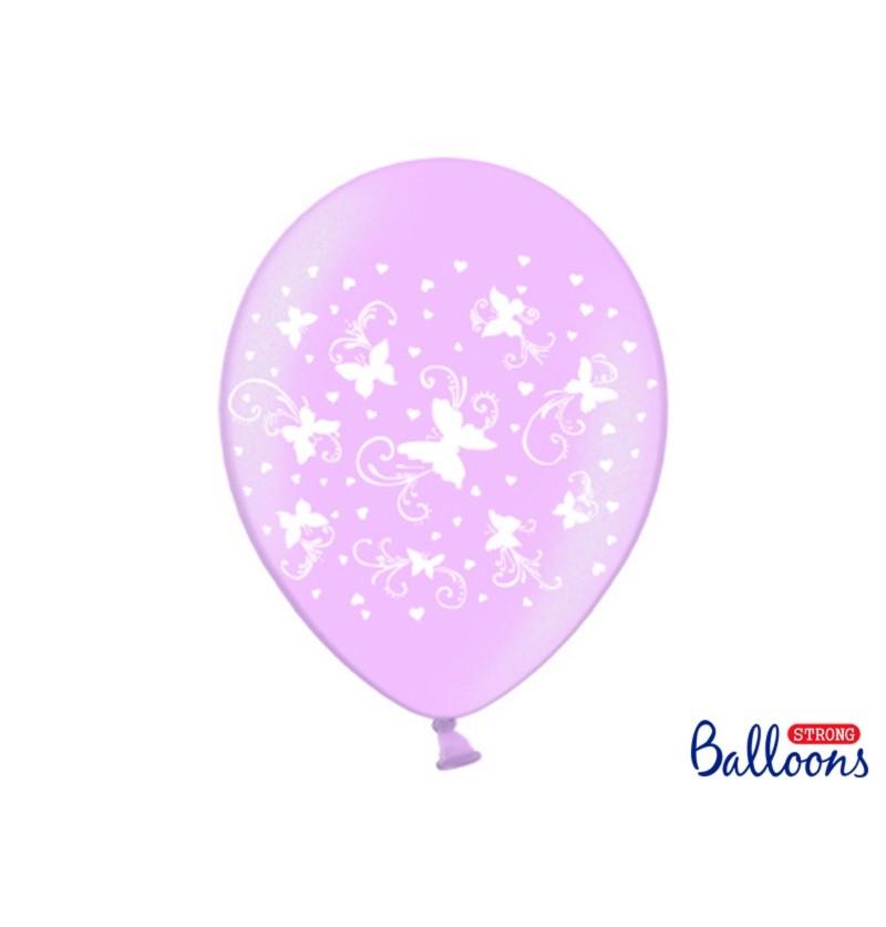 Set de 6 globos con mariposas rosas pastel