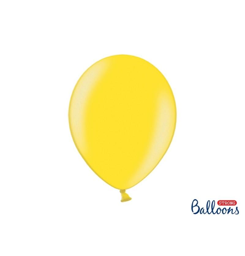Set de 10 globos extra resistentes amarillo claro metalizados