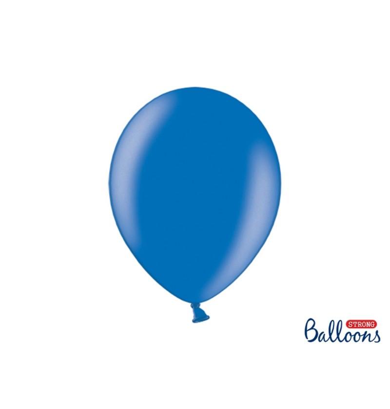 Set de 10 globos extra resistentes azul metalizados