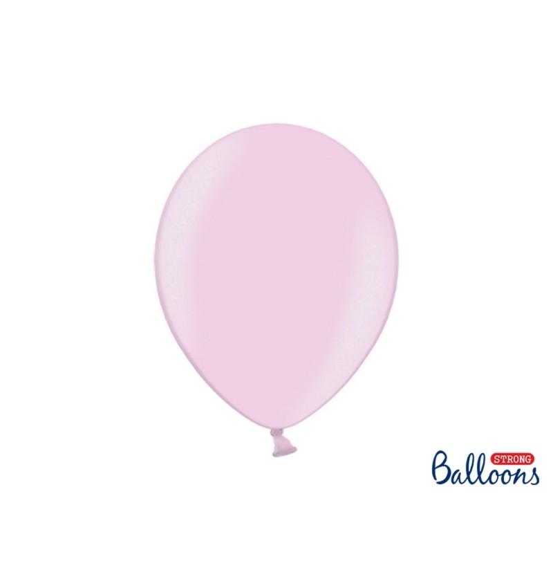 Set de 10 globos extra resistentes rosa pastel metalizados