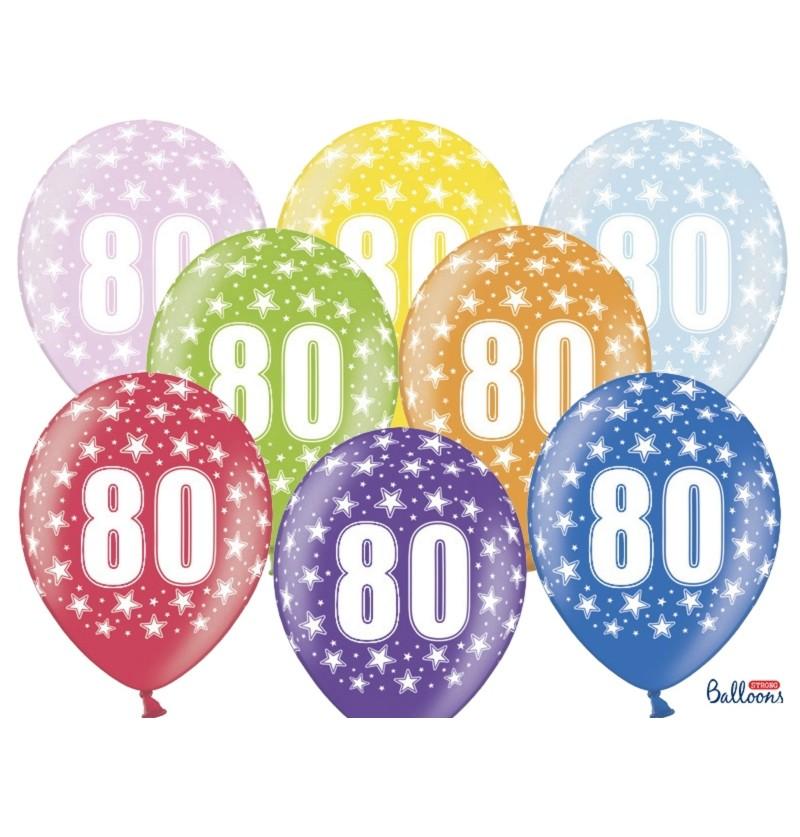 """Set de 6 globos de látex """"80""""multicolor"""