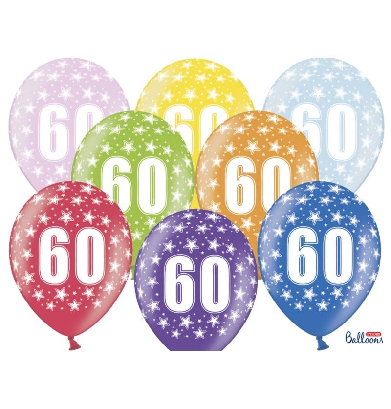 """Set de 6 globos de látex """"60""""multicolor"""