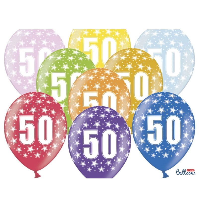 "Set de 50 globos de látex ""50""multicolor"