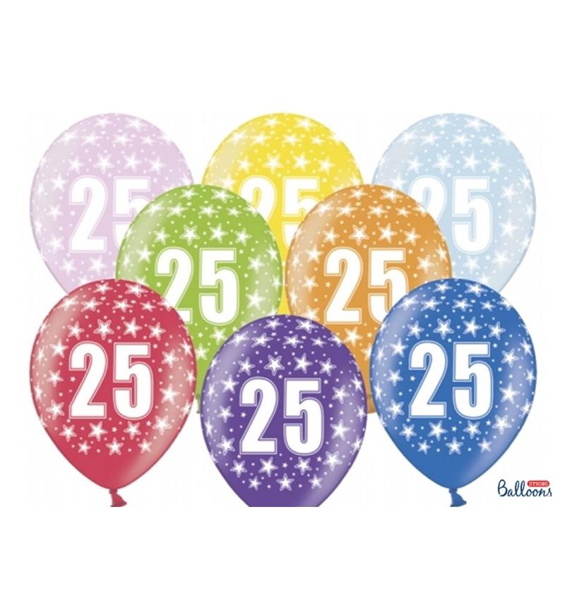 """Set de 6 globos de látex """"25""""multicolor"""