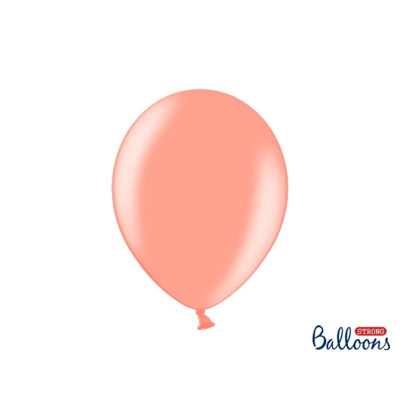 Set de 100 globos extra resistentes oro rosa metalizados