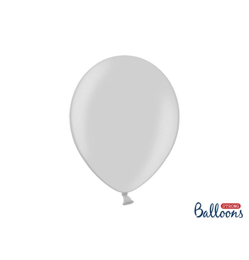 Set de 10 globos extra resistentes 30 cm gris brillante metalizados