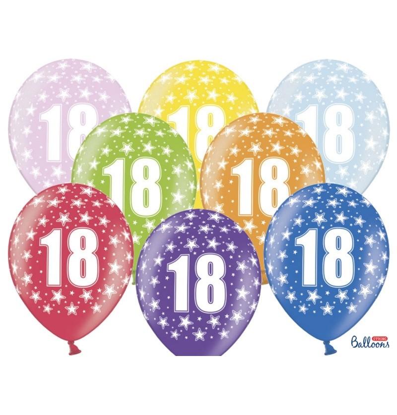 """Set de 6 globos de látex """"18""""multicolor"""