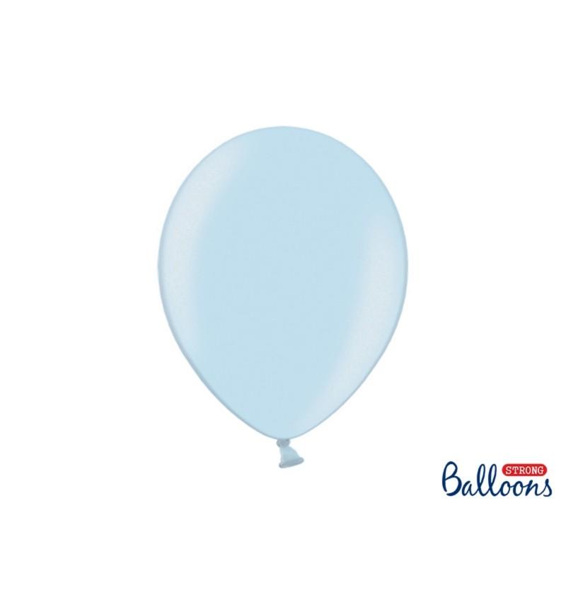 Set de 10 globos extra resistentes azul pastel metalizados