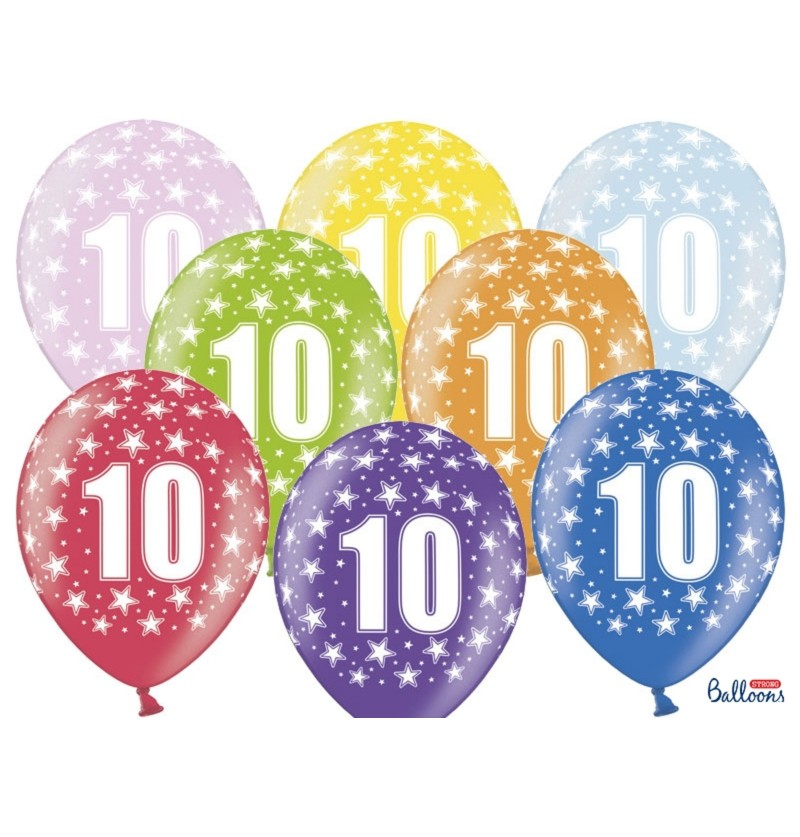 "Set de 6 globos de látex ""10""multicolor"
