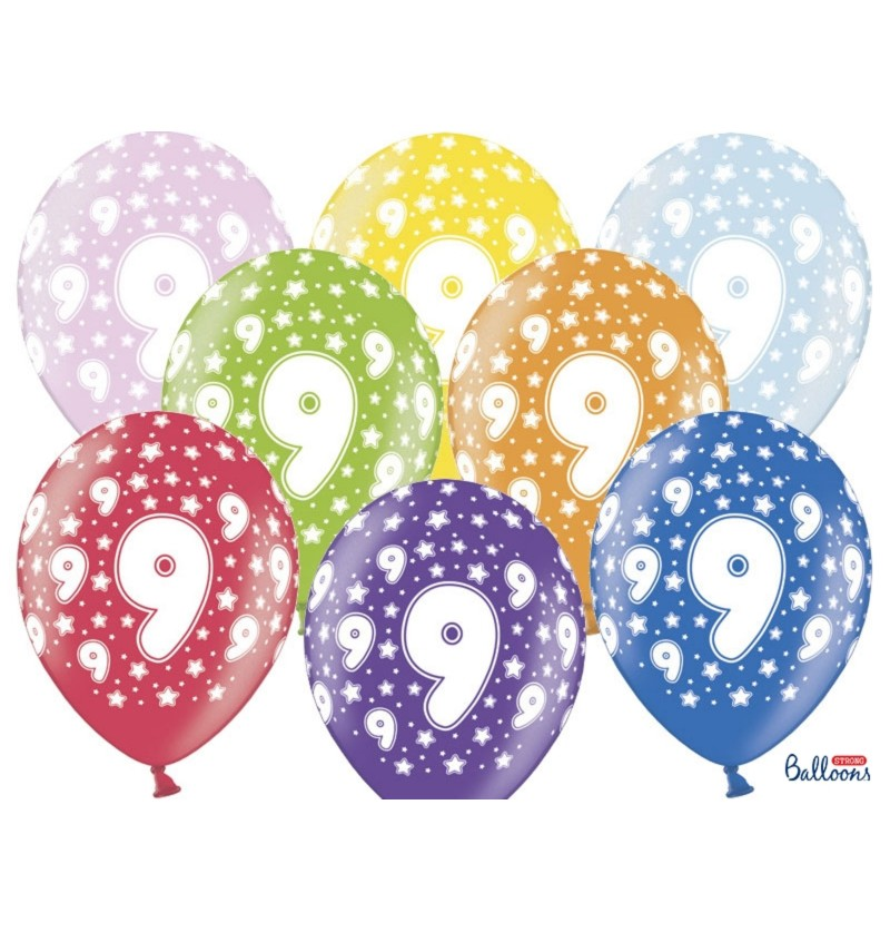 """Set de 6 globos de látex """"9""""multicolor"""