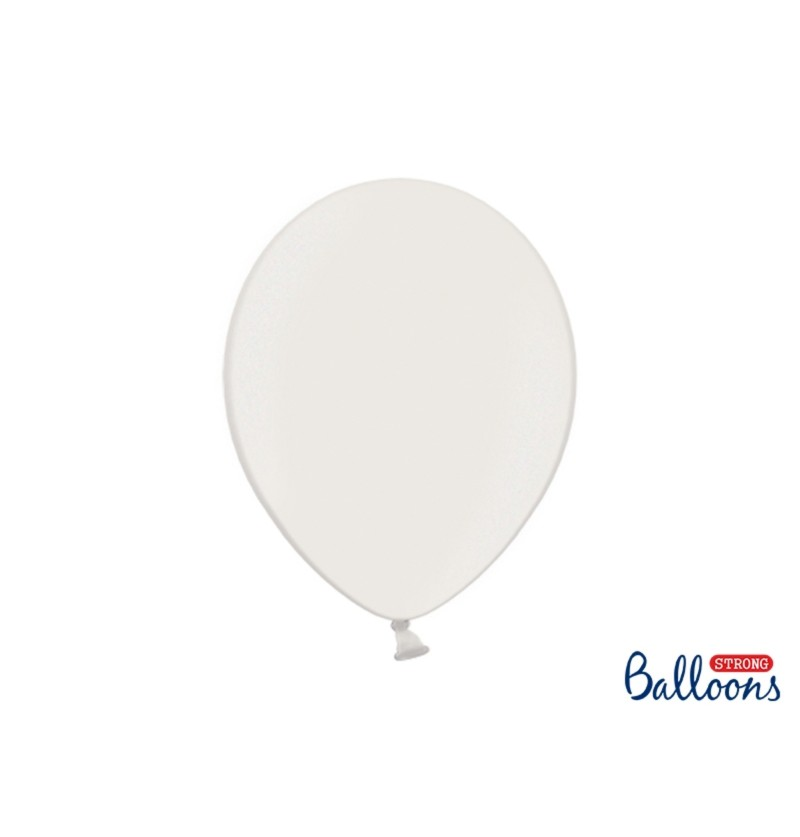 Set de 100 globos extra resistentes blanco metalizados