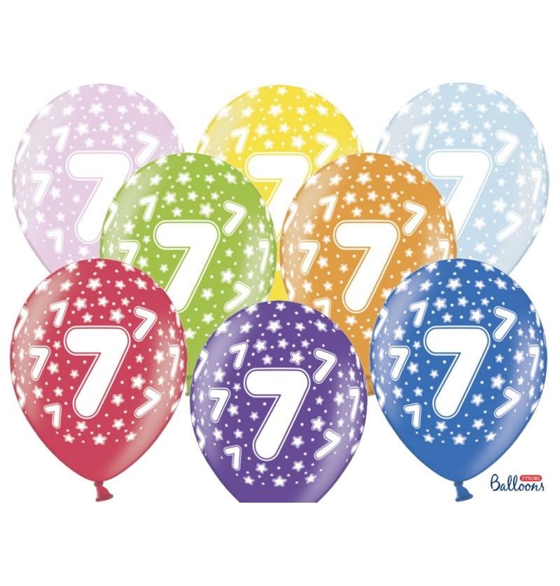 """Set de 6 globos de látex """"7""""multicolor"""