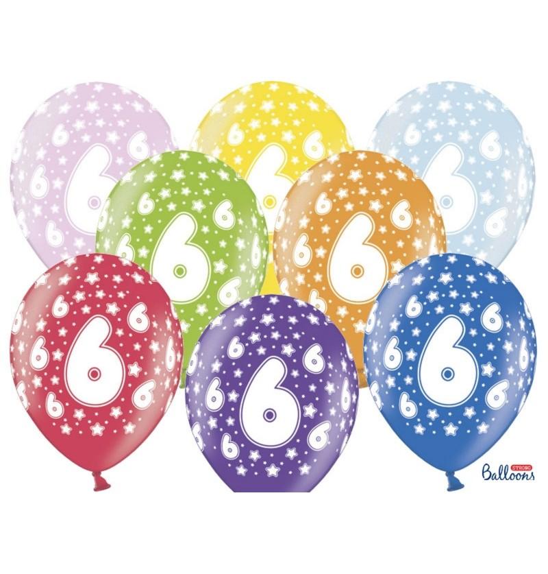"""Set de 6 globos de látex """"6""""multicolor"""