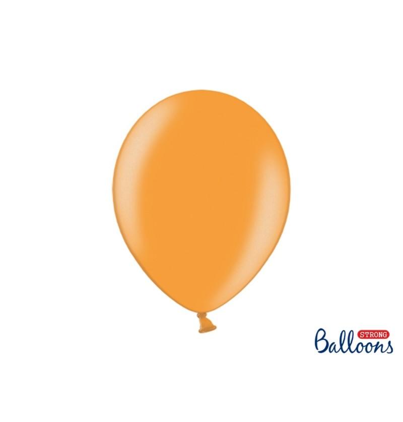 Set de 10 globos extra resistentes naranja claro metalizados
