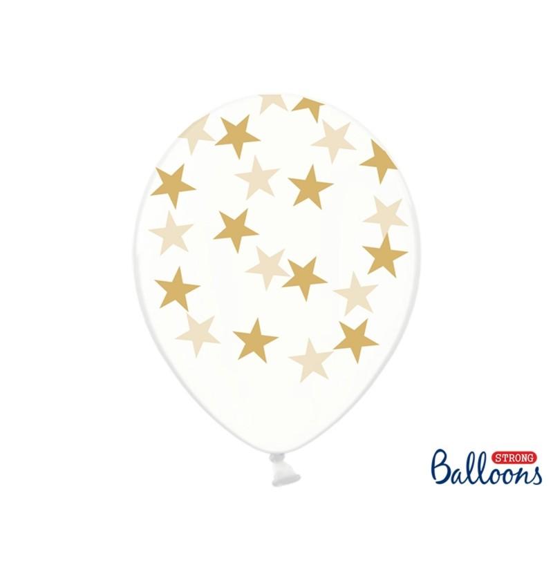 Set de 6 globos con estrellas transparentes