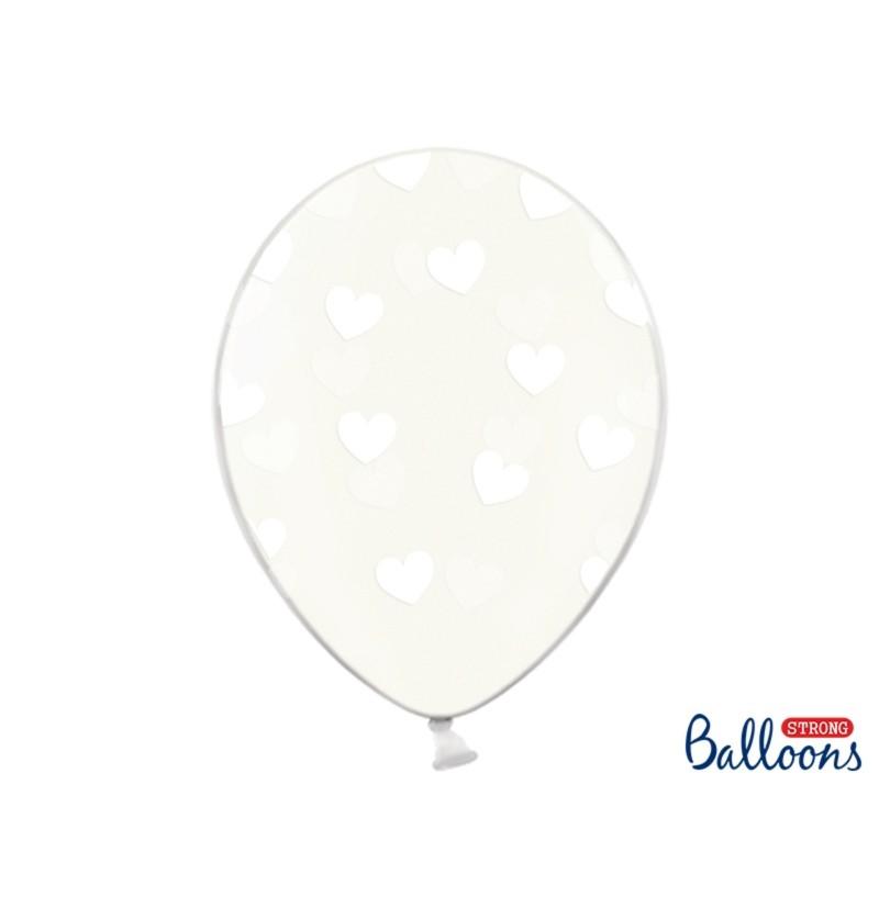 Set de 6 globos con corazones transparente