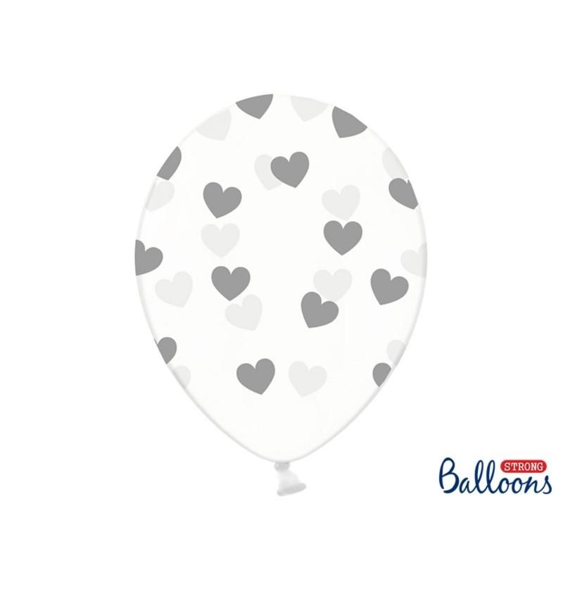 Set de 6 globos con corazones grises