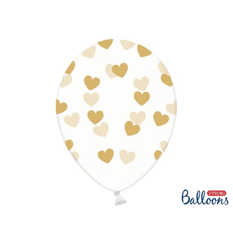 Set de 6 globos con corazones dorados