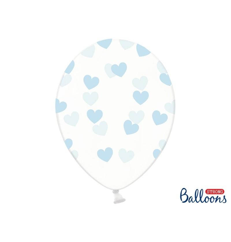 Set de 50 globos con corazones azules