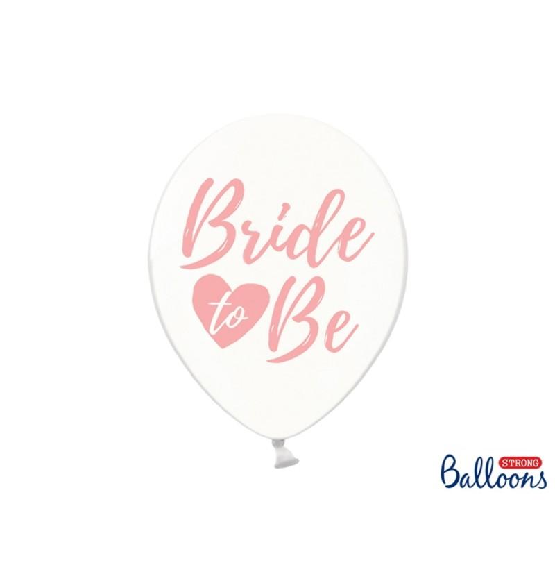 """Set de 6 globos de látex """"BRIDE TO BE"""" transparente - Gold Bridal Shower"""