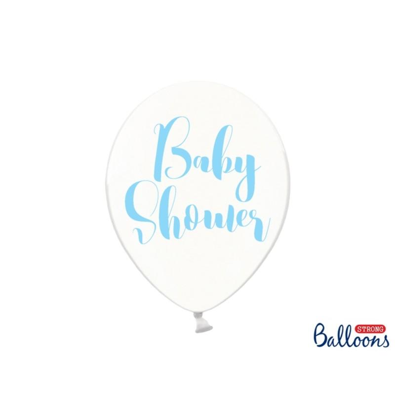 """Set de 50 globos de látex """"BABY SHOWER"""" azul transparente"""